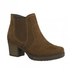 Soft Line Womens Cognac Suede Block Heeled Ankle Boots