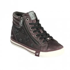 Mustang Women's Zip High Sneakers - Burgundy