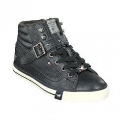 Mustang High Top Sneakers Ankle Boots - Navy