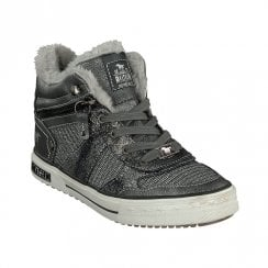 Mustang Girls High Top Sneakers Ankle Boots - Dark Grey
