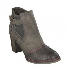 Mustang High Heeled Ankle Boots - Brown