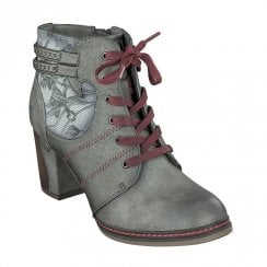 Mustang High Heeled Leaf Patterns Ankle Boots - Grey