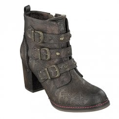 Mustang Eco Leather Block Heeled Ankle Boots - Brown