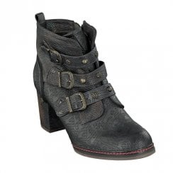 Mustang Eco Leather Block Heeled Ankle Boots - Navy