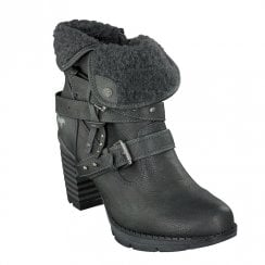 Mustang Eco Leather Block Heeled Fur Ankle Boots - Graphite
