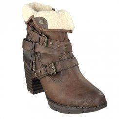 Mustang Eco Leather Block Heeled Fur Ankle Boots - Tan