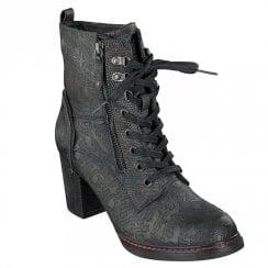 Mustang Block Heeled Mid High Calf Lace Up Boots - Dark Blue