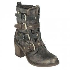 Mustang Block Heeled Decorative Buckles Mid Calf Boots - Brown