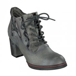 Mustang Faux Leather 6-Eyelet Zip Heeled Ankle Boots - Grey