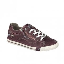Mustang Women's Glitter Tongue Lace Up Trainers - Burgundy