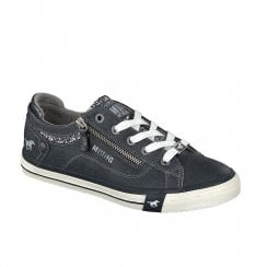 Mustang Women's Glitter Tongue Lace Up Trainers - Navy