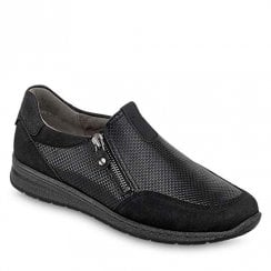 Ara Ladies Black Leather Low Wedge Shoes
