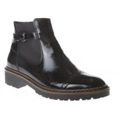 Ara Ladies Black Flat Ankle Boots