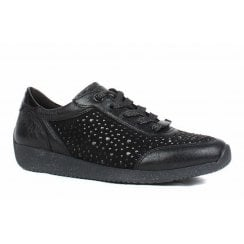 Ara Ladies Lissabon Black Rhinestones Sneakers