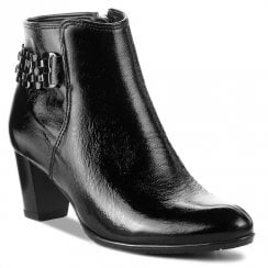 Ara Toulouse Black Leather Mid Heeled Ankle Boots