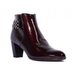 Ara Toulouse Burgundy Leather Mid Heeled Ankle Boots