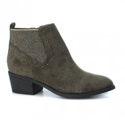 XTI Womens Cowboy Style Suede Ankle Boots - Khaki