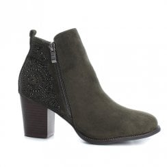 XTI Womens Suede Block Heeled Ankle Boots - Khaki
