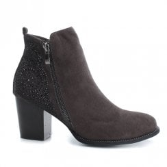 XTI Womens Suede Block Heeled Ankle Boots - Dark Grey 48398
