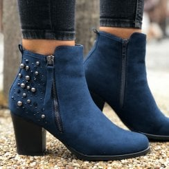 Sprox 434543 Navy Embellished Ankle Boot