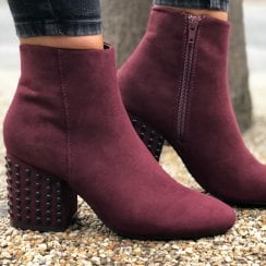 Sprox Bordo Studded Heel Anke Boot