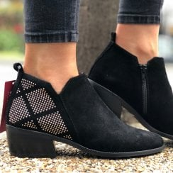 Wonders Black Suede Low Heel Ankle Boot
