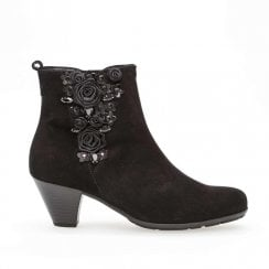 Gabor Elegant Rough Leather Heeled Booties - Black