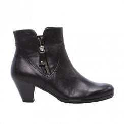 Gabor Low Heel Outside Zip Detail Ankle Boots - Black