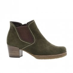Gabor Wooden Block Heel Lilia Suede Ankle Boots - Khaki