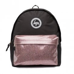 Hype Glitter Black Pink Pocket Backpack