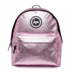 Hype Crinkle Foil Metallic Pink Backpack