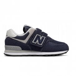 New Balance Kids 574 Velcro Sneakers - Navy/White