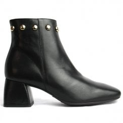 Wonders Black Stud Trim Ankle Boot
