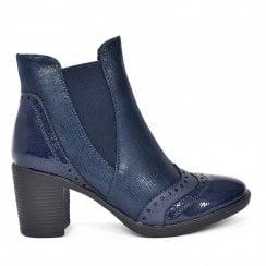 Redz Brogue Chelsea Ankle Boot - Navy