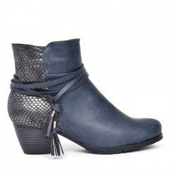 Redz Side Tassel Ankle Boot - Navy