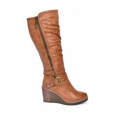 Redz Ruched Wedge Long Boot - Tan