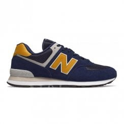New Balance Mens 574 Core Suede Lace Up Sneakers - Navy Yellow
