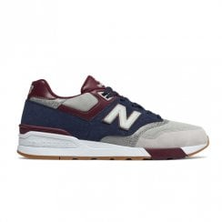 New Balance Mens 597 Suede Lace Up Sneakers - Navy/Grey/Burgundy
