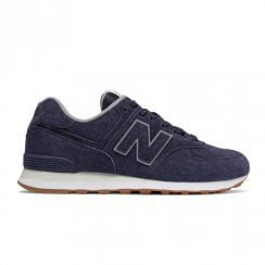 New Balance Mens 574 Suede Lace Up Sneakers - Navy