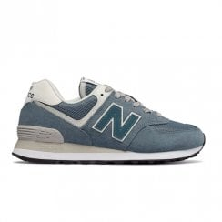 New Balance Womens 574 Suede Lace Up Sneakers - Teal/White