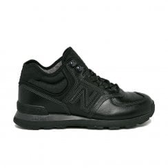 New Balance Mens 574 Hi Top Leather Lace Up Sneakers Boots - Black