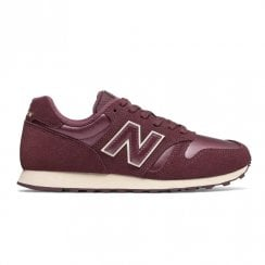 New Balance Womens 373 Suede Lace Up Sneakers - Burgundy