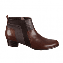Regarde Le Ciel Stefany 127 Low Ankle Leather Boots - Tan Pewter