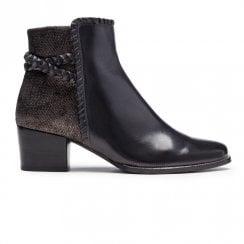 Regarde Le Ciel Isabel 54 Heeled Ankle Leather Boots - Black Bronze