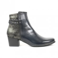 Regarde Le Ciel Isabel 54 Heeled Ankle Leather Boots - Black/Navy Two Tone