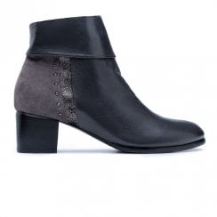 Regarde Le Ciel Corinne 02 Heeled Ankle Cuff Upper Leather Boots - Navy/Grey