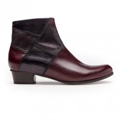 Regarde Le Ciel Stefany 276 Low Ankle Leather Patchwork Boots - Burgundy