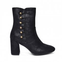 Fabs Ladies Victorian Side Buttons Heeled Boots - Black