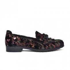 Fabs Ladies Floral Loafer Shoes - Black Multi Colour