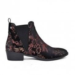 Fabs Ladies Floral Chelsea Boots - Black/Multi-Colour
